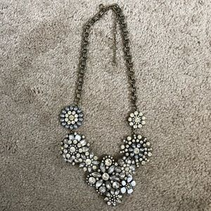 J. Crew Crystal Jeweled Cluster Statement Necklace